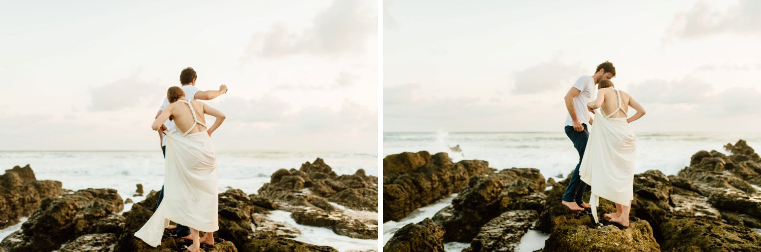 I love these adventurous elopement photoshoots! Especially on Costa Rica's amazing beaches! Santa Teresa Beach is such a great elopement location!  Destination wedding photography by intimate Costa Rica wedding photographer, Maddie Mae.