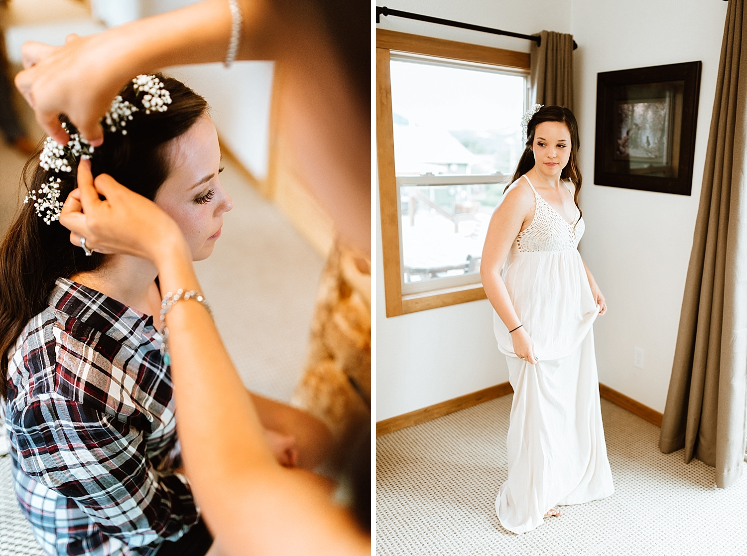 I definitely want flowers in my hair for my wedding! And I love the crochet details on this cream wedding dress! | Mountain elopement photos by adventure wedding photographer, Maddie Mae.