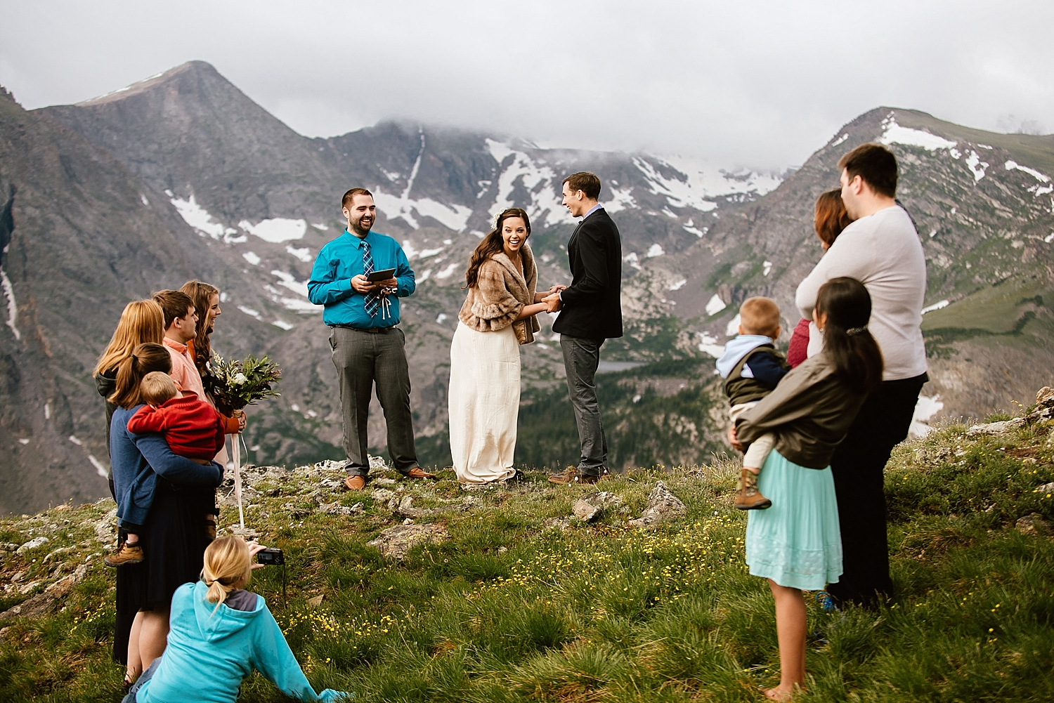 Jessica and Edward celebrated their marriage in RMNP, Estes Park, Colorado with a beautiful and intimate elopement on Trail Ridge Road! I absolutely love this small mountain wedding! | Colorado mountain elopement photos by mountain wedding photographer, Maddie Mae.