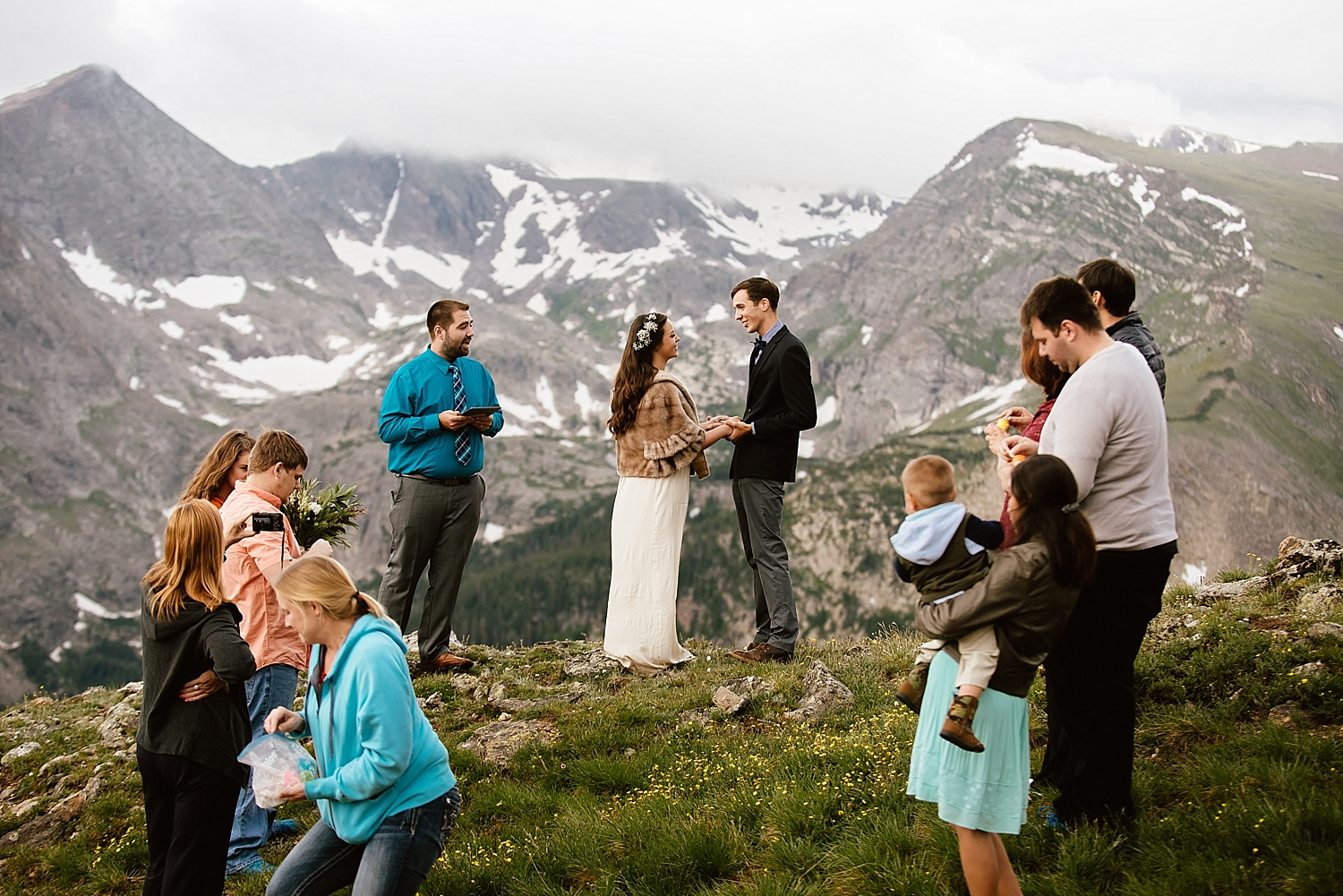I couldn't picture a more beautiful intimate mountain elopement than Jessica and Edward's wedding in Estes Park, Colorado! | Mountaintop elopement photos by RMNP wedding photographer, Maddie Mae.