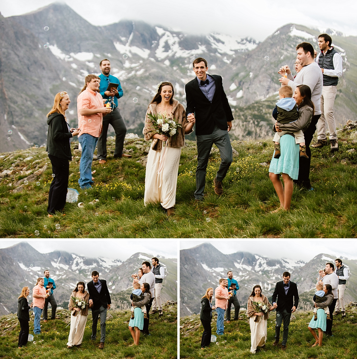 I am so in love with these photos from Jessica and Edward's mountain elopement! I love small weddings, especially in RMNP in Estes Park! | Trail Ridge Road wedding ceremony photos by Rocky Mountain National Park elopement photographer, Maddie Mae.