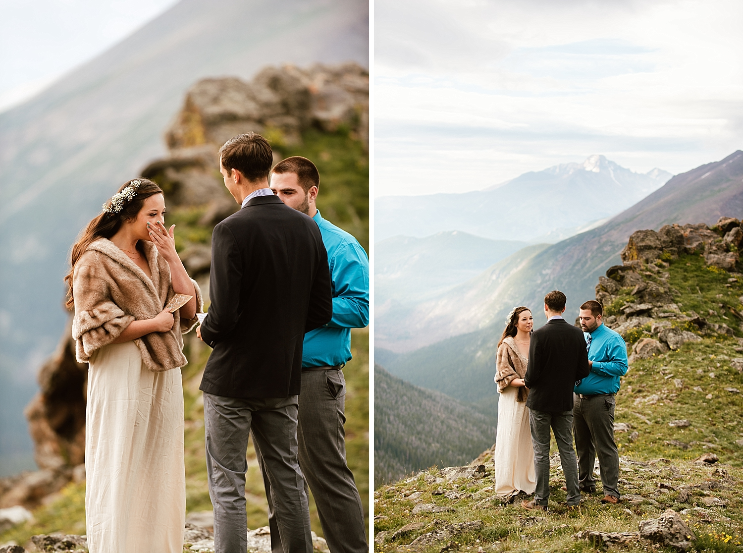 I've always dreamed of a mountaintop wedding like Jessica and Edward's! Can;t wait for my own intimate elopement in Estes Park! | Intimate mountaintop elopement photos by Rocky Mountain National Park wedding photographer, Maddie Mae.