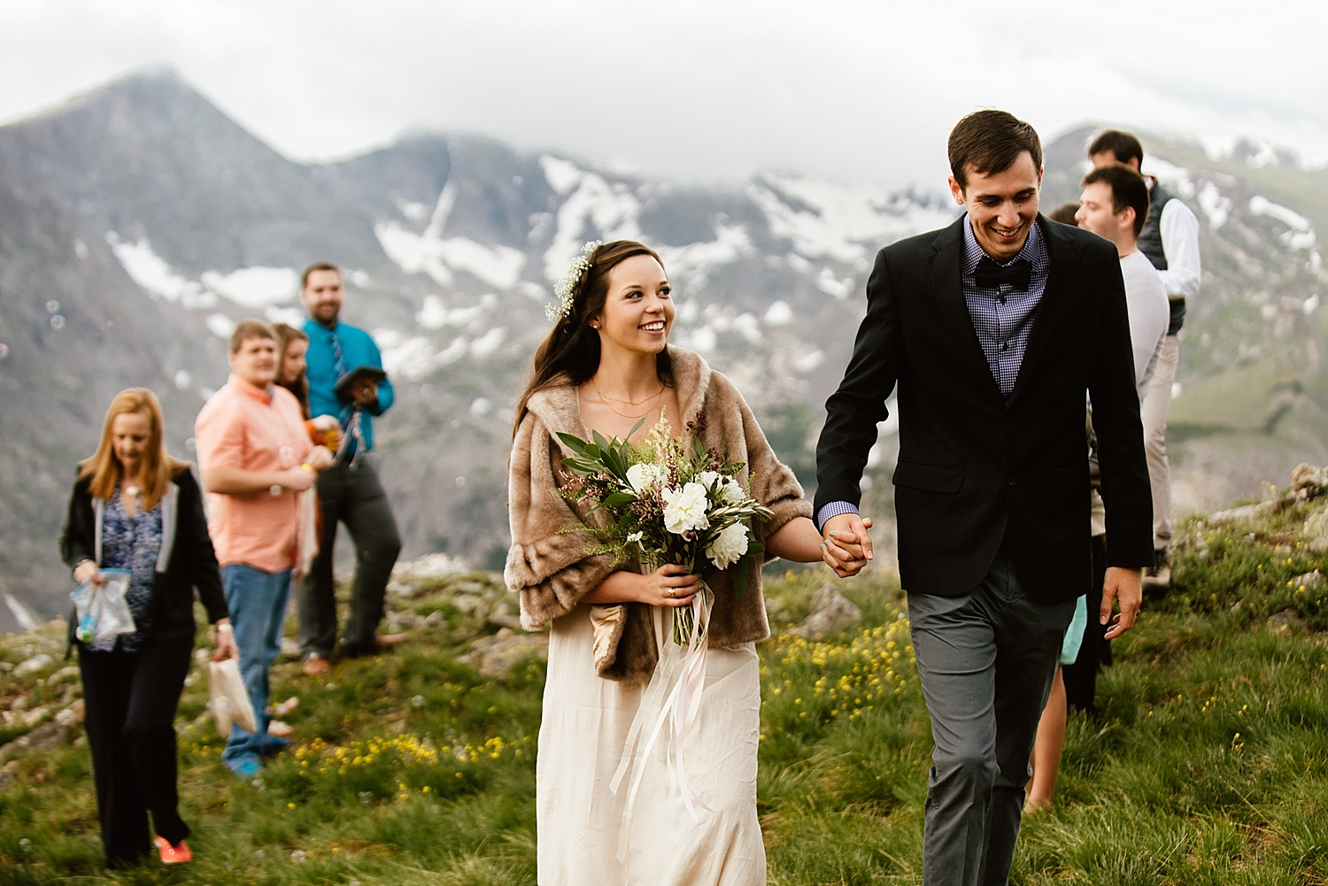 That white peony bouquet is so beautiful! I can't wait to get married in the mountains off of Trail Ridge Road in RMNP! | Colorado mountaintop elopement photos by adventure wedding photographer, Maddie Mae.