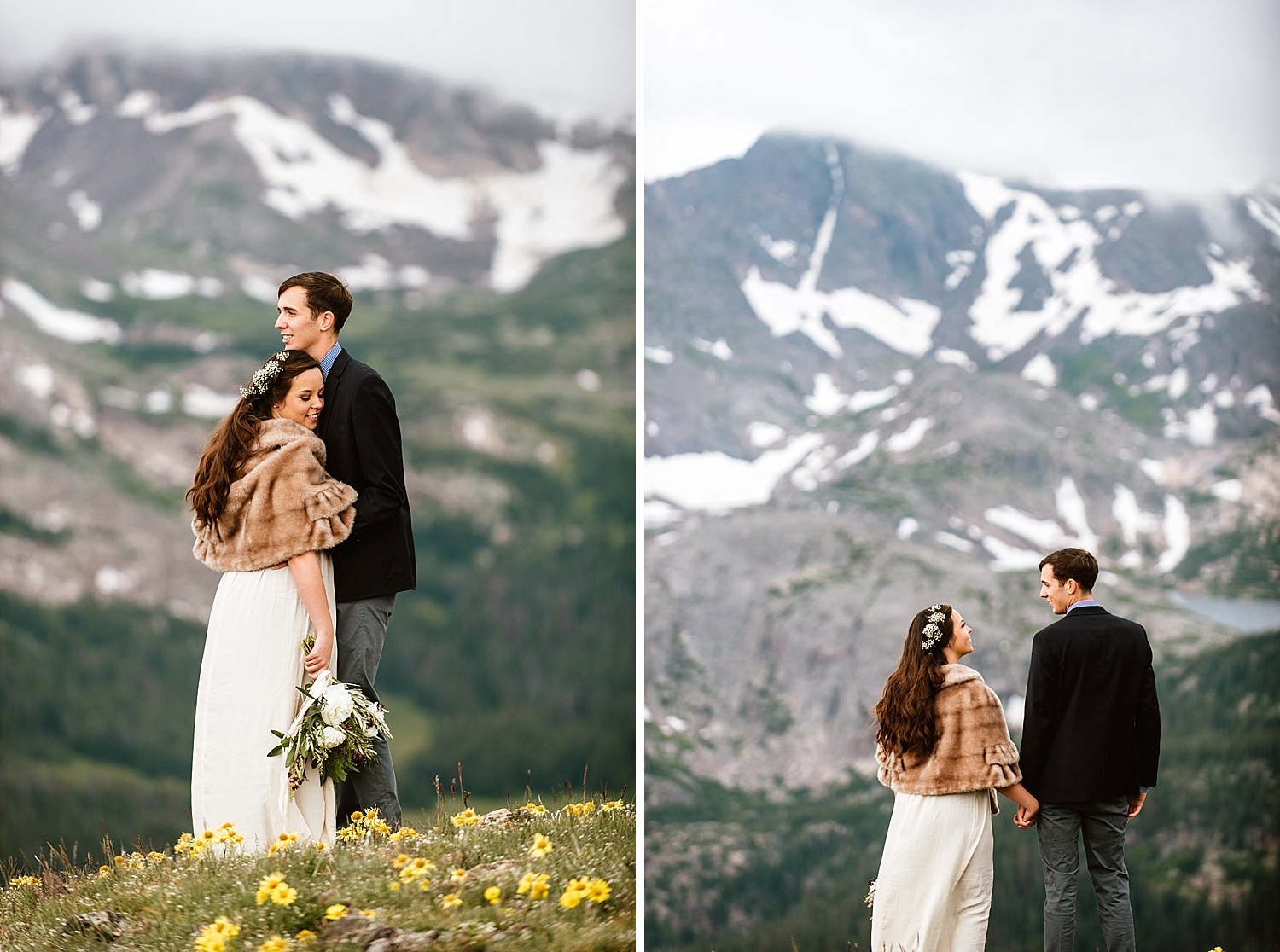 I have fallen in love with Jessica and Edward's mountain elopement photoshoot! I can't get enough of these gorgeous mountain wedding pictures! | RMNP wedding photos by Estes Park elopement photographer, Maddie Mae.