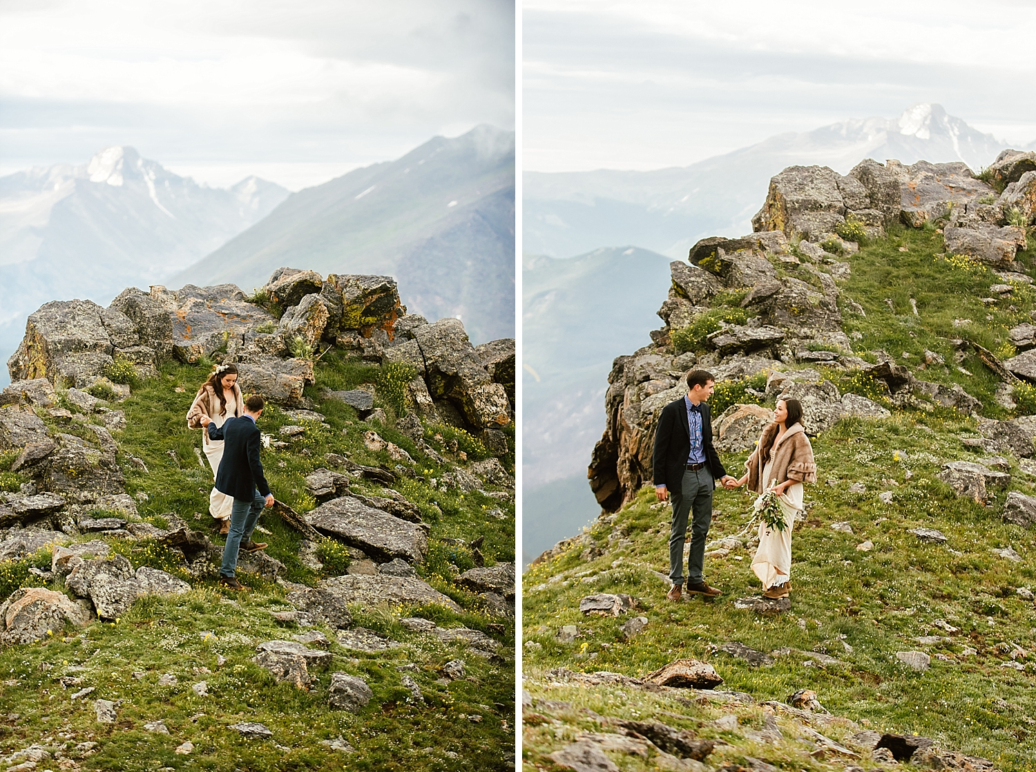 This Colorado elopement location in RMNP, Estes Park is on my list for my own elopement locations! Winter weddings up in the mountains are gorgeous! | Mountain elopement photos by Rocky Mountain National Park wedding photographer, Maddie Mae.