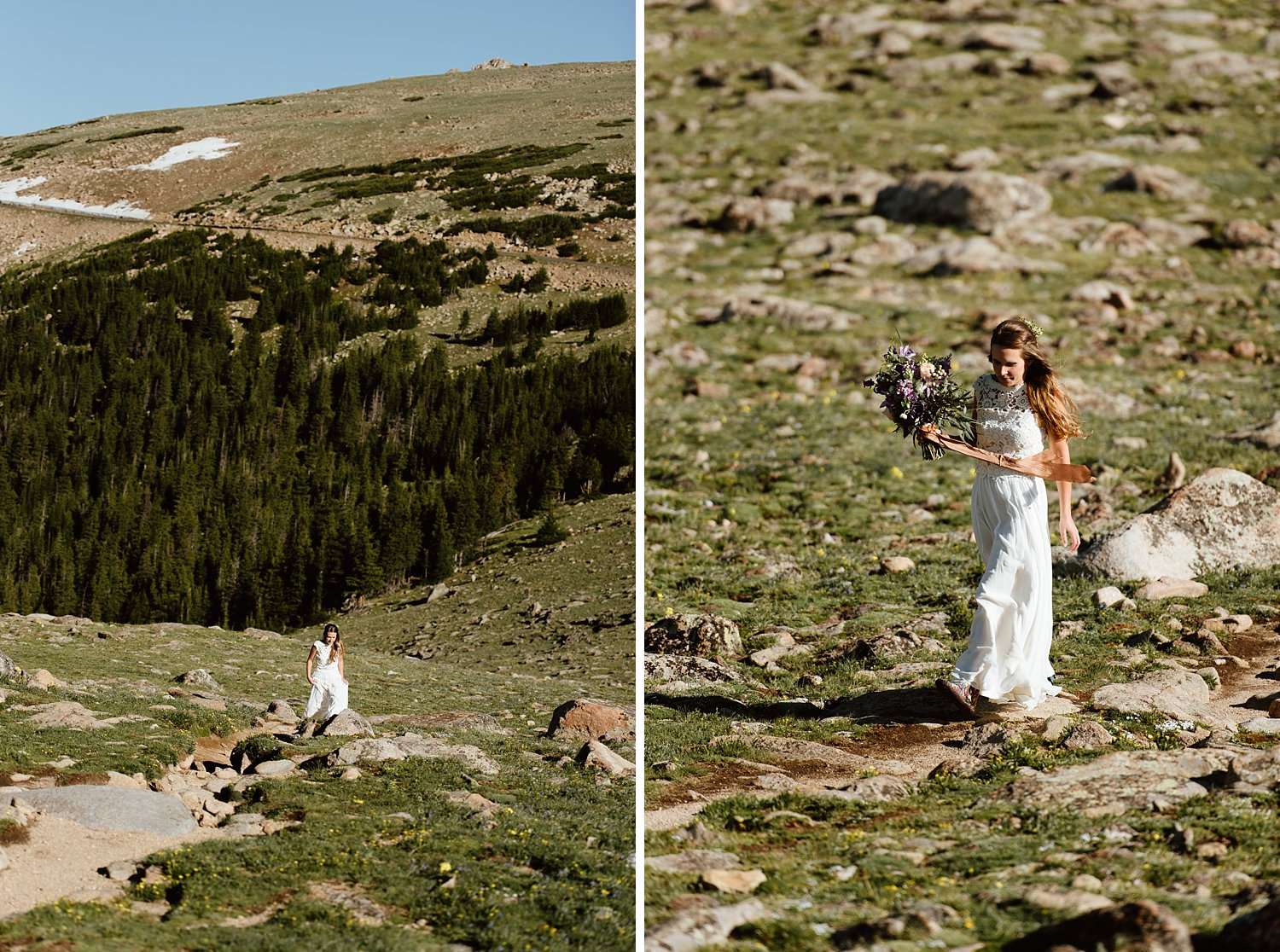 Here she comes ready for her first look on the top of a mountain on the high alpine tundra in Rocky Mountain National Park! | RMNP elopement photos by Colorado adventure wedding photographer, Maddie Mae.