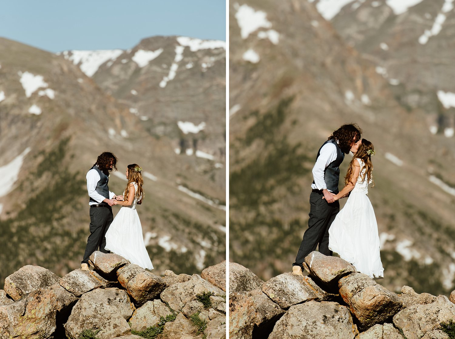 I love this romantic first look on the top of a mountain in RMNP! I can't wait to get married in the mountains too! | High alpine tundra elopement photos by Colorado mountain wedding photographer, Maddie Mae.