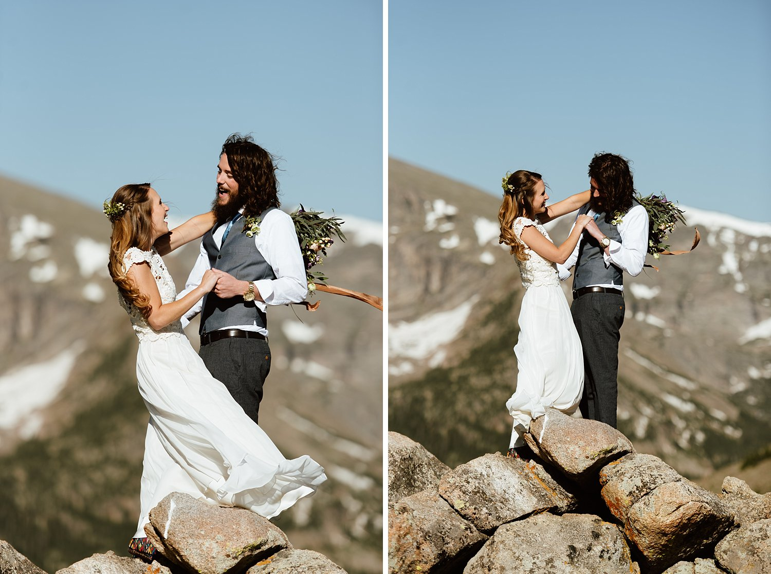 Totally swooning over this couple's beautiful mountain elopement photos! I love this idea of having a first look! | Windy mountaintop elopement photos by Colorado wedding photographer, Maddie Mae.