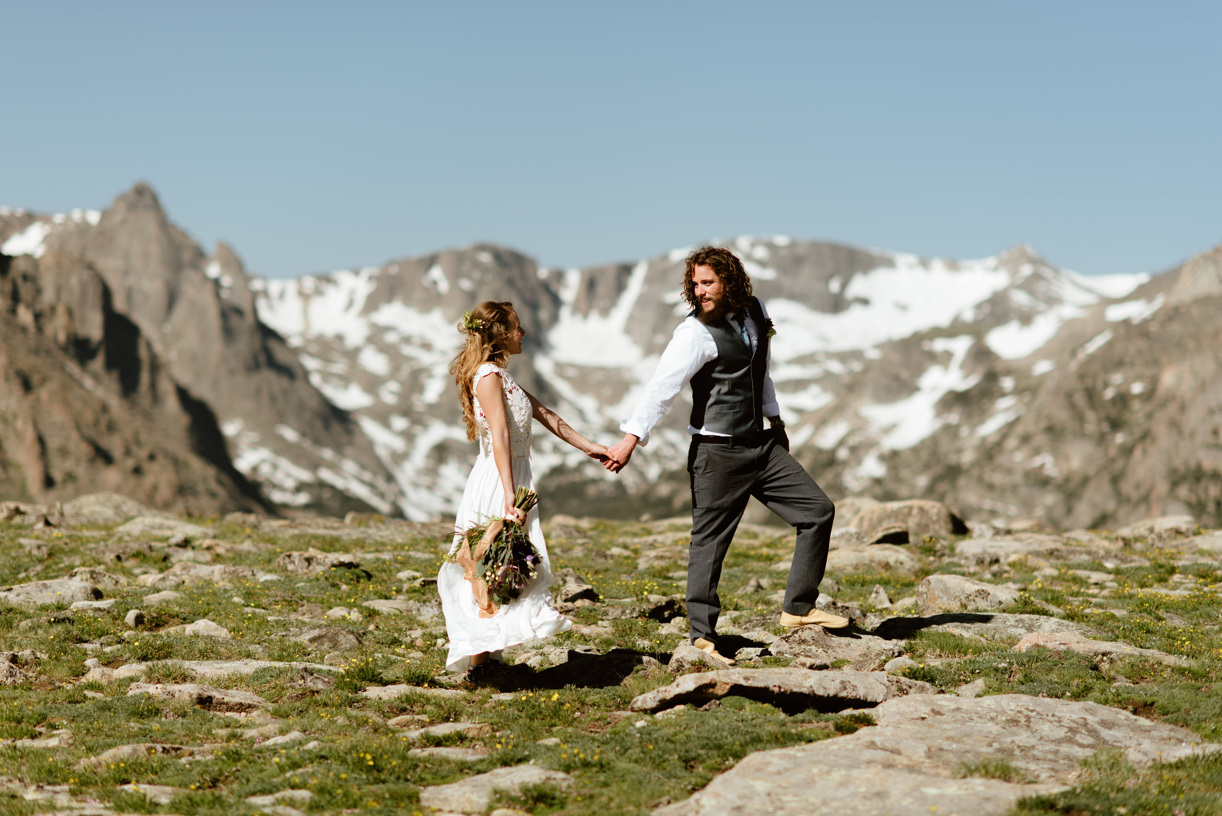 This hiking wedding was insanely amazing! I definitely want to get married or elope on Trail Ridge Road in Rocky Mountain National Park! | Rocky Mountain National Park elopement photos by Colorado mountain wedding photographer, Maddie Mae.