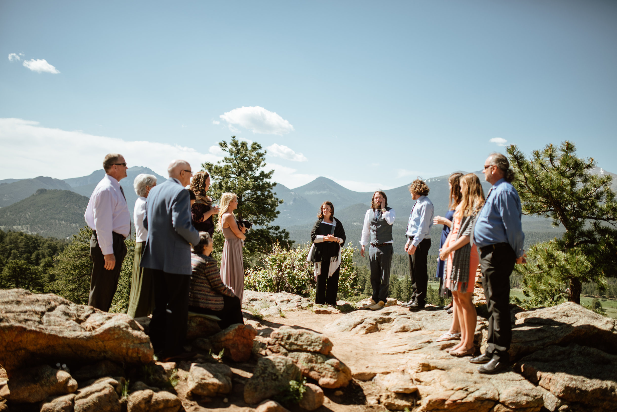 This intimate wedding ceremony at 3m curve in RMNP couldn't have been more private and beautiful! Love the idea of a small ceremony like this one! | 3m Curve elopement photos by Rocky Mountain National Park wedding photographer, Maddie Mae.