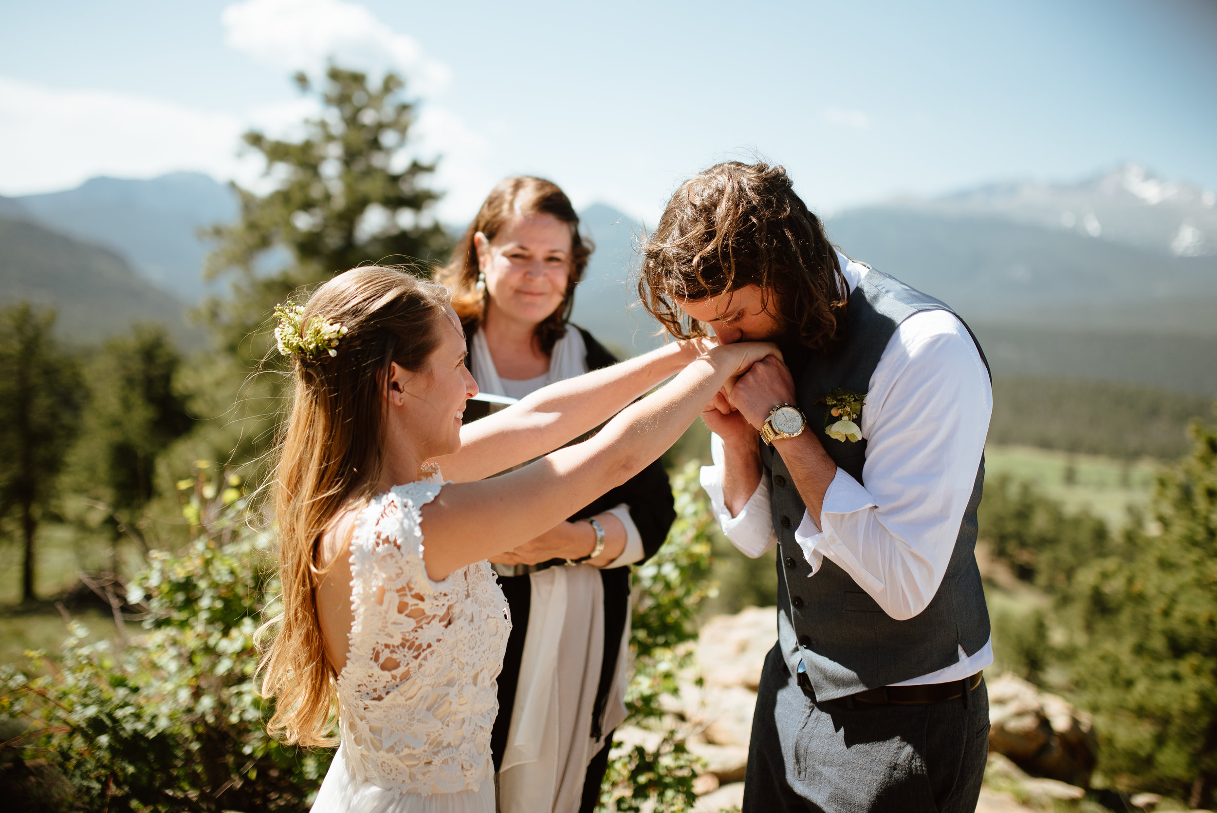 It really doesn't get much better than this intimate mountain wedding at 3m curve in Rocky Mountain National park! I love how sweet and casual this couple is! | Adventure elopement photos by Colorado mountain wedding photographer, Maddie Mae.