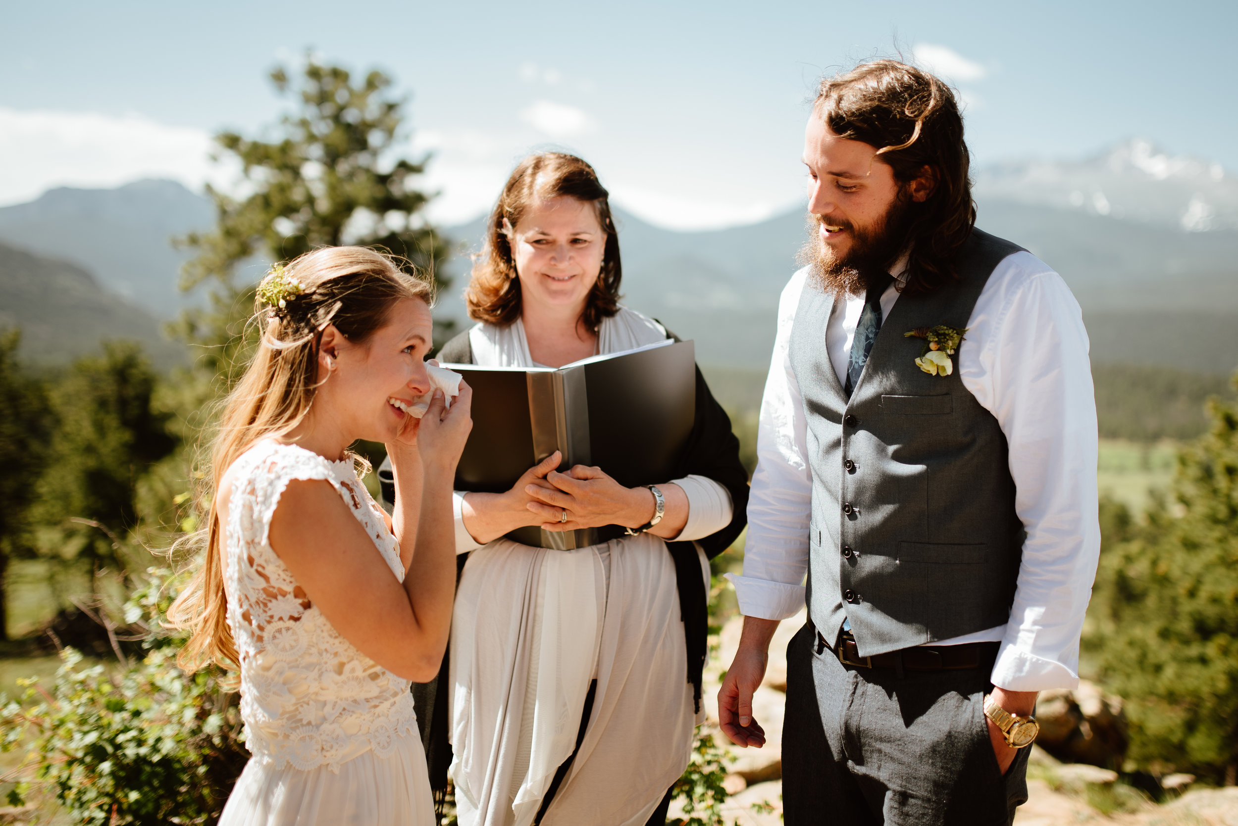 This is such a gorgeous wedding ceremony at 3m curve in RMNP! SO happy for this couple! | This Rocky Mountain National Park wedding location of 3m curve elopement photos by Colorado wedding photographer, Maddie Mae.