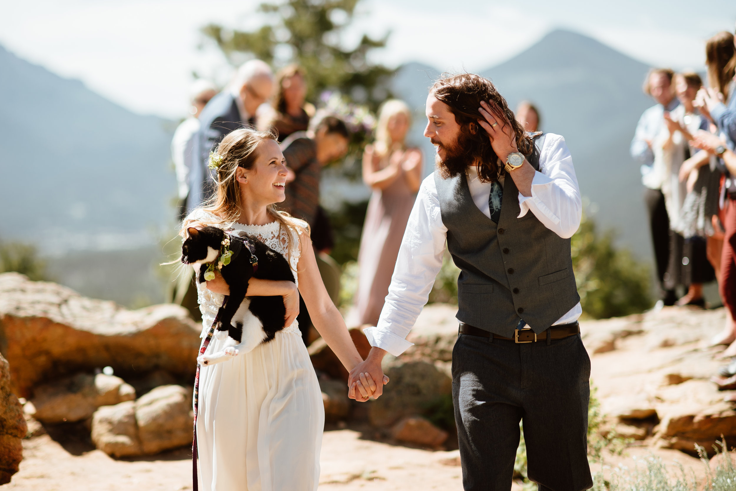 So happy for this new family! I love this mountain wedding! | Hiking elopement photos by Colorado wedding photographer, Maddie Mae.