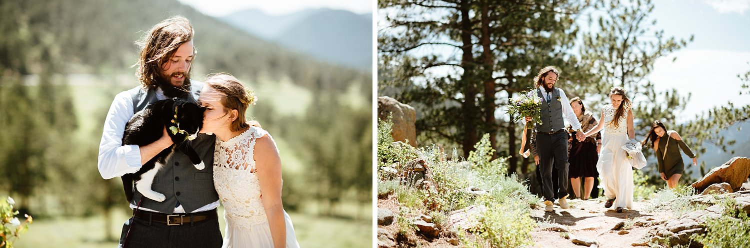 Perfect mountain wedding in RMNP! I can't believe that amazing mountain view! | Mountain elopement photos by hiking wedding photographer, Maddie Mae.