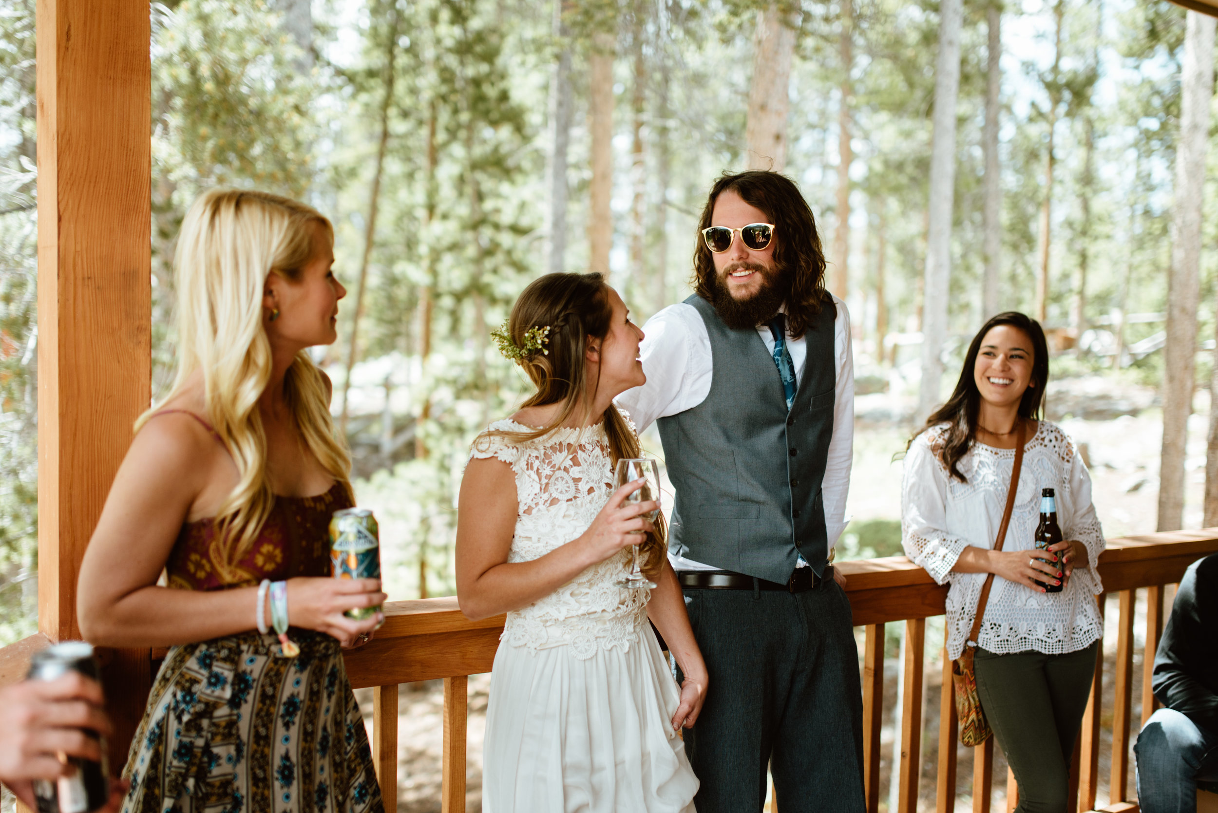 I love how casual this intimate wedding reception is! Such a nice way to end the more gorgeous mountain wedding! | Mountain elopement photos by Grand Lake wedding photographer, Maddie Mae.