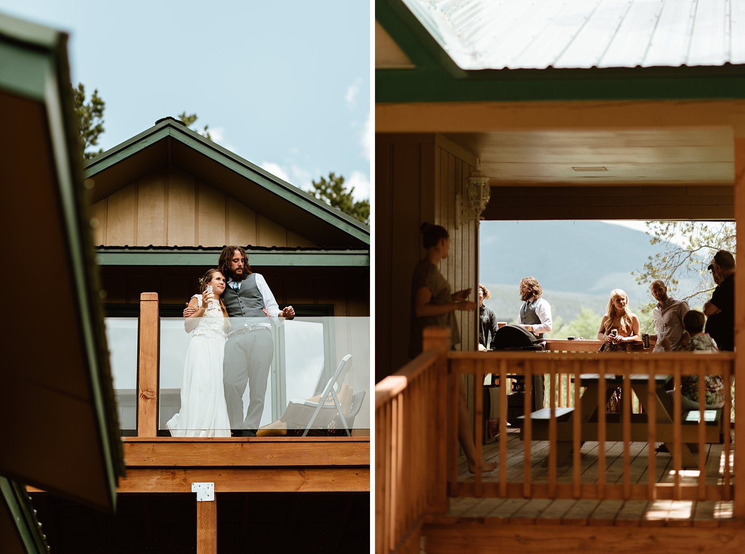 I love this casual and informal mountain wedding reception in the backyard of a cabin! Erin and Graham really did it right! | Mountain elopement photos by Colorado wedding photographer, Maddie Mae.