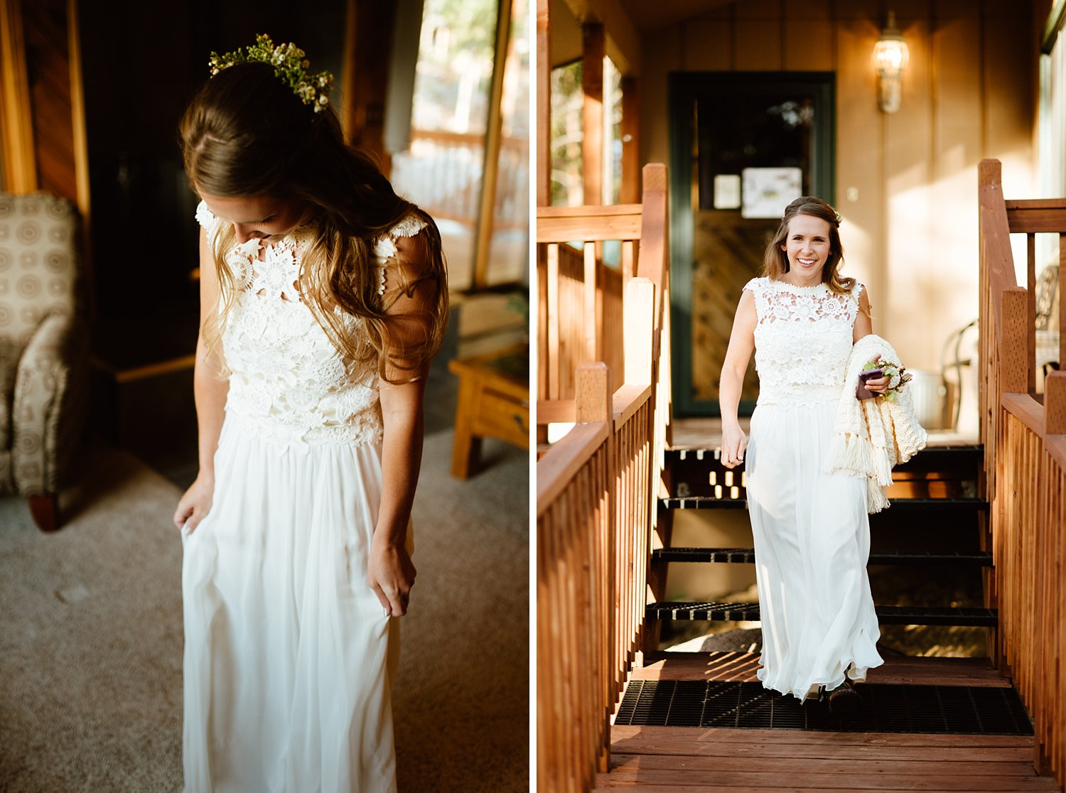 Such a cute lace top wedding dress! So perfectly flowy for hiking wedding! | Mountain elopement photos by Colorado wedding photographer, Maddie Mae.