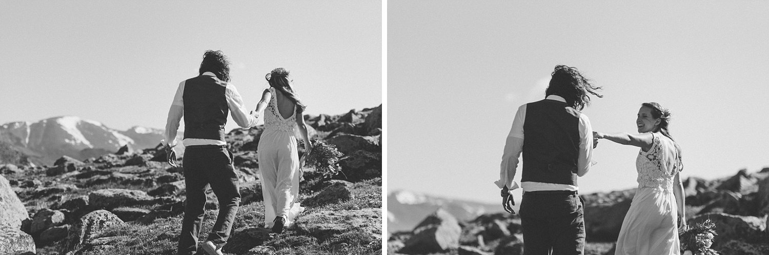 I love these beautiful wedding photos from RMNP! Erin and Graham's relaxed mountain elopement was so beautiful! | Mountain elopement photos by Colorado wedding photographer, Maddie Mae.