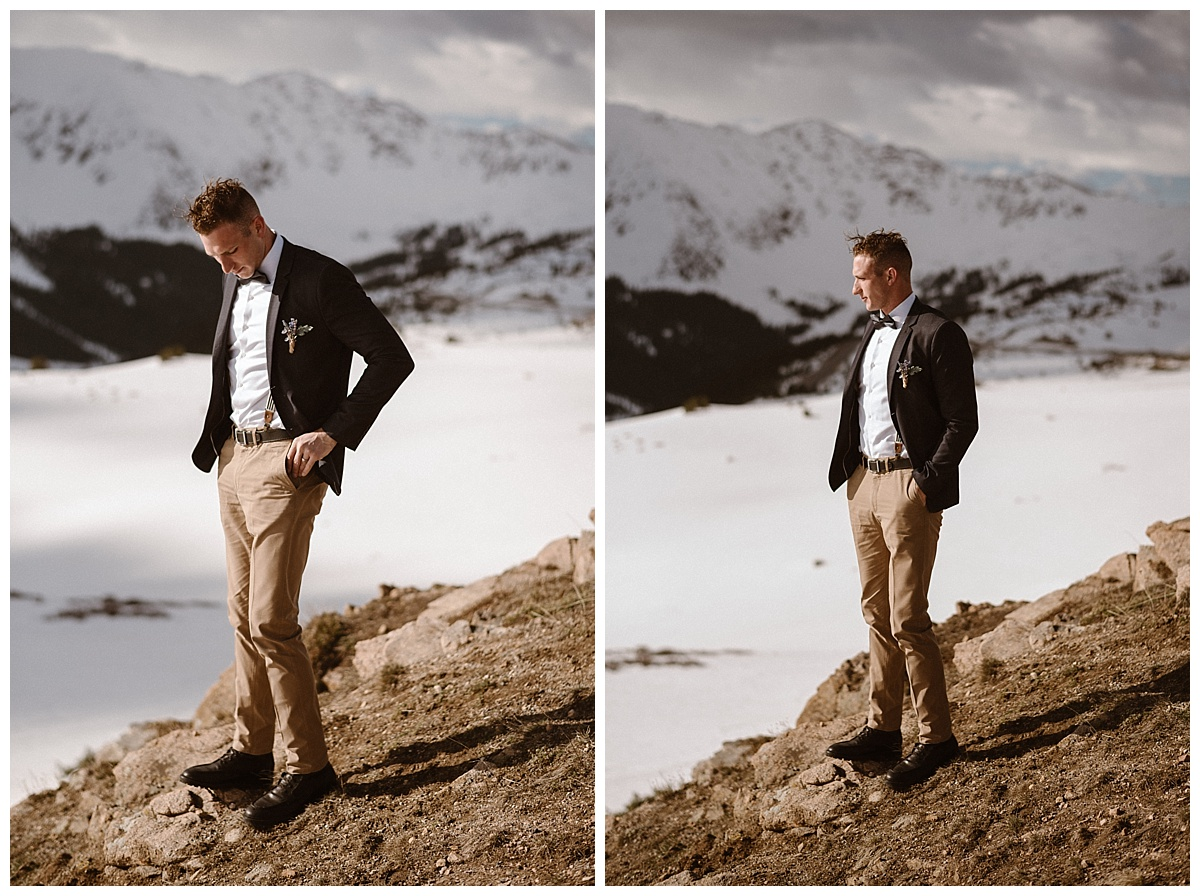 Jared looked dapper in his khaki slacks and dark suit jacket, his vintage suspenders peeking out, a nod to Mikayla's love of vintage fashion. Photos of this adventurous Colorado elopement taken by intimate wedding photographer Maddie Mae.