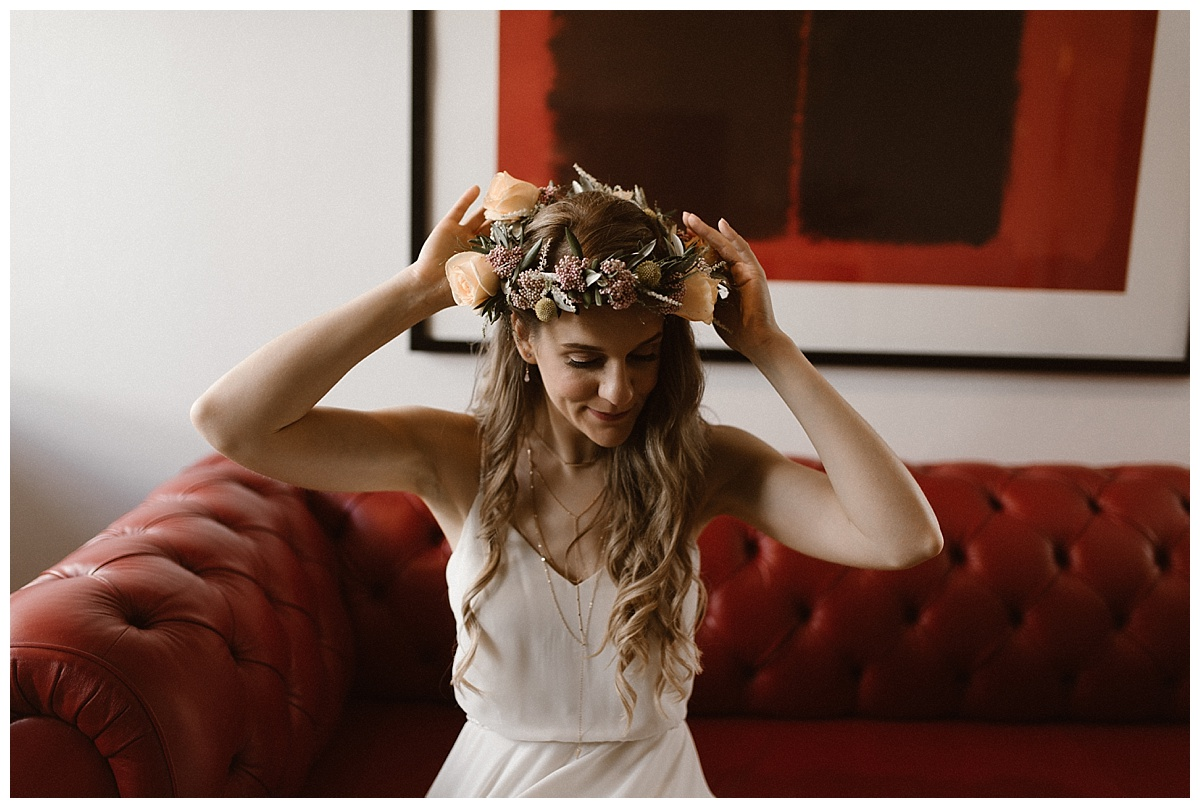 This intimate Icelandic elopement had all the details of a fairytale, even a bride dressed all in white and topped with a delicate flower crown. Photos by wedding photographer Maddie Mae.