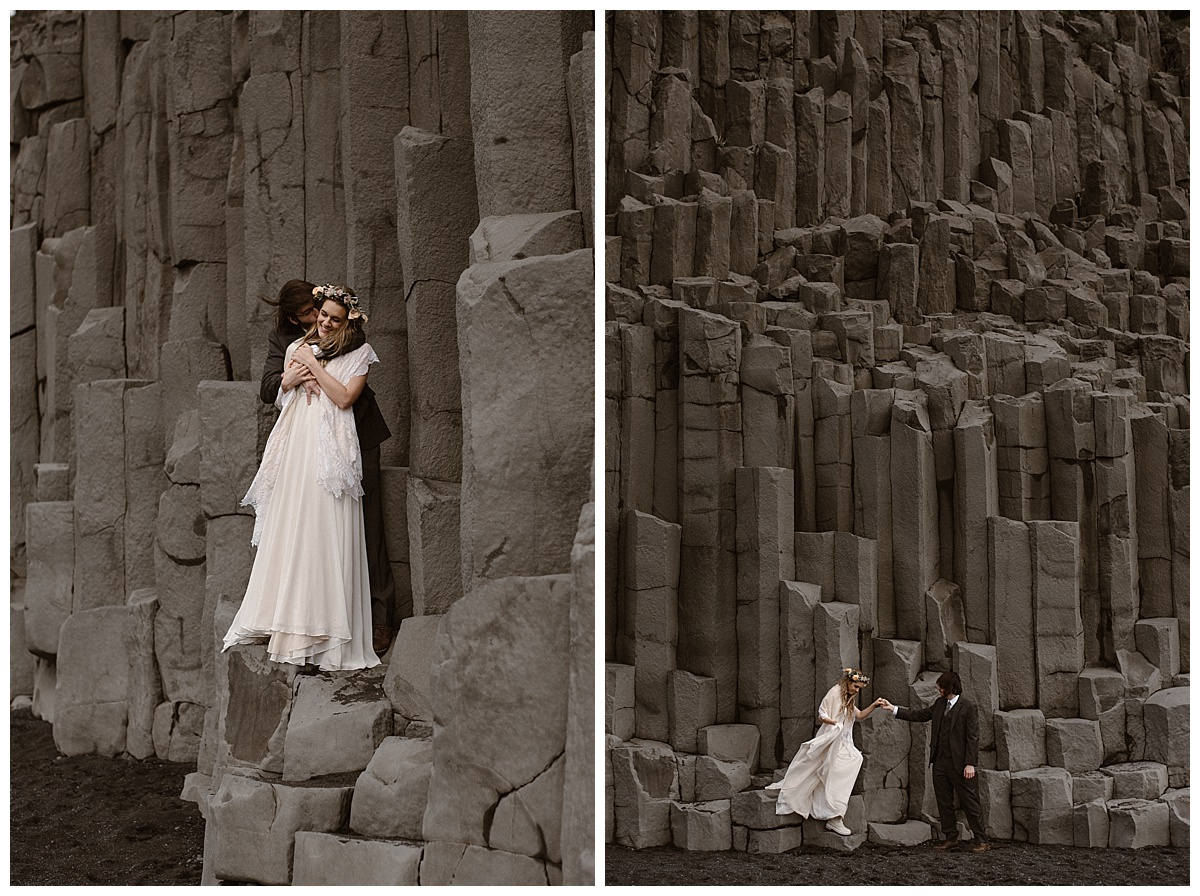 Cuddling on the jagged cliffside of Reynisdrangar's black sand beach, Julie and Tim paused to giggle before trekking onward. Photos of this intimate Icelandic elopement taken by Maddie Mae Photography.