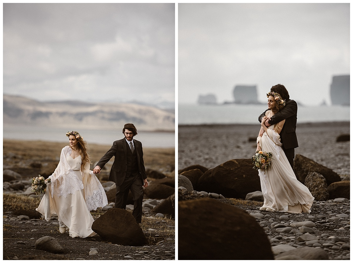 Julie and Tim picked Reynisdrangar beach as one of their intimate locations for their epic Icelandic elopement. Their non-traditional vision was made complete with their traveling wedding photographer Maddie Mae.
