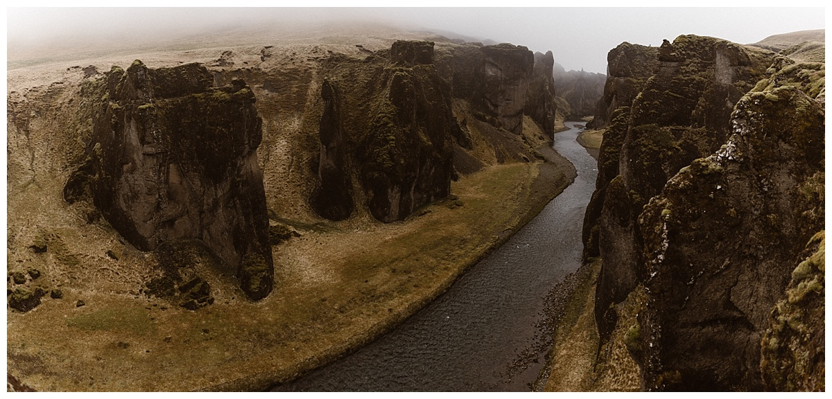 Julie and Tim continued on to Fjadrargljufur Canyon for their intimate elopement ceremony. They chose Iceland instead of the traditional wedding ceremony surrounded by family and friends. Photos by Maddie Mae Photography.