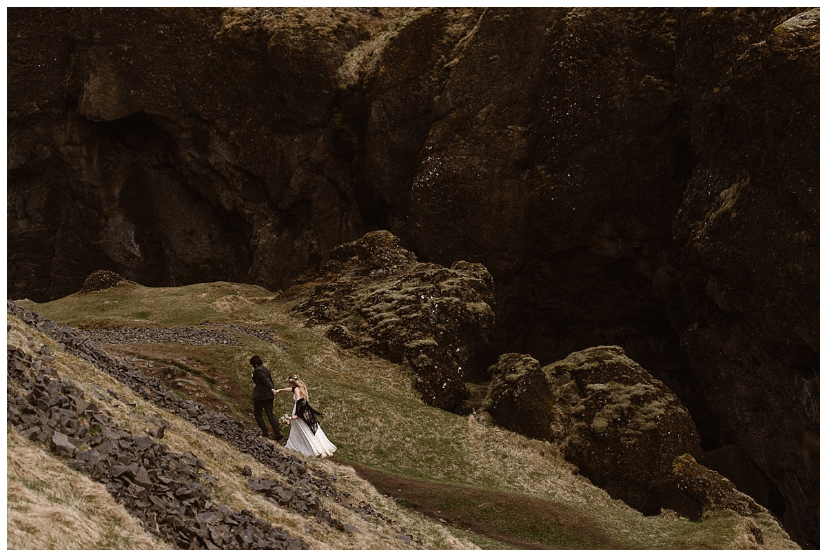 With their photographer Maddie Mae, high above them in Kvernufoss, Tim and Julie wandered into the depths of the canyon, hunting for a waterfall they had heard about.