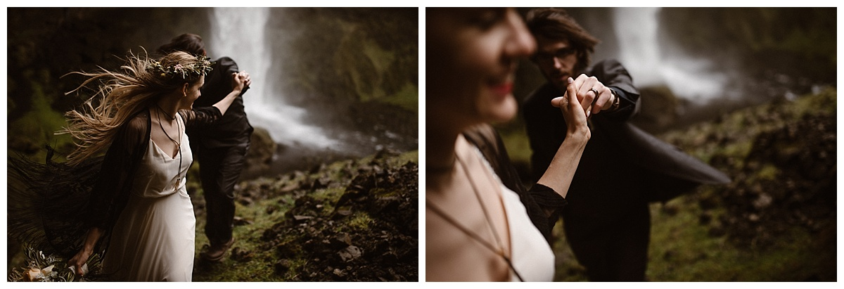 """""""Follow me,"""" Julie playfully said to her groom, leading him out of the mossy cave near Kvernufoss waterfall where they had wandered in as part of their adventurous elopement through Iceland. Photos by traveling wedding photographer, Maddie Mae."""