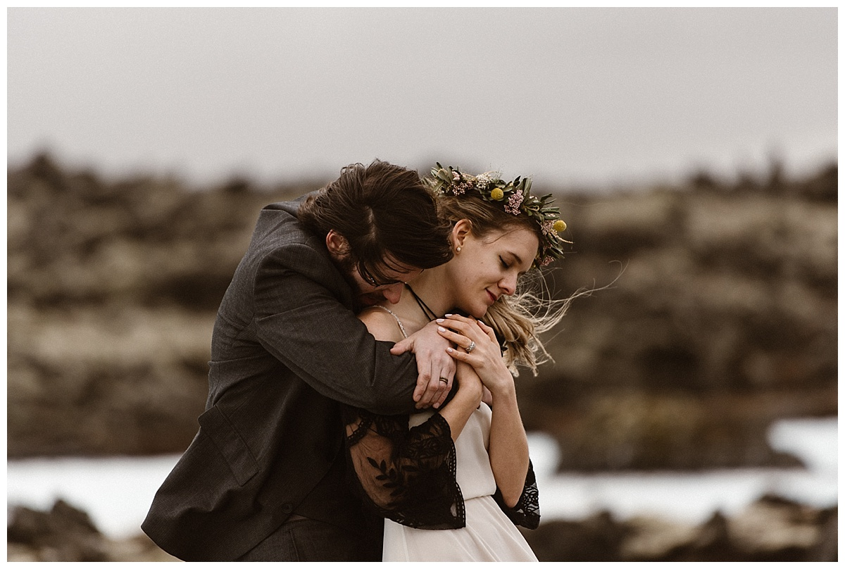 Tim wrapped his arms around Julie, warming her up from the blowing winds and letting her know he'd always be there to have her back, whenever she may need him. Photos of this intimate Iceland elopement captured by traveling wedding photographer Maddie Mae.