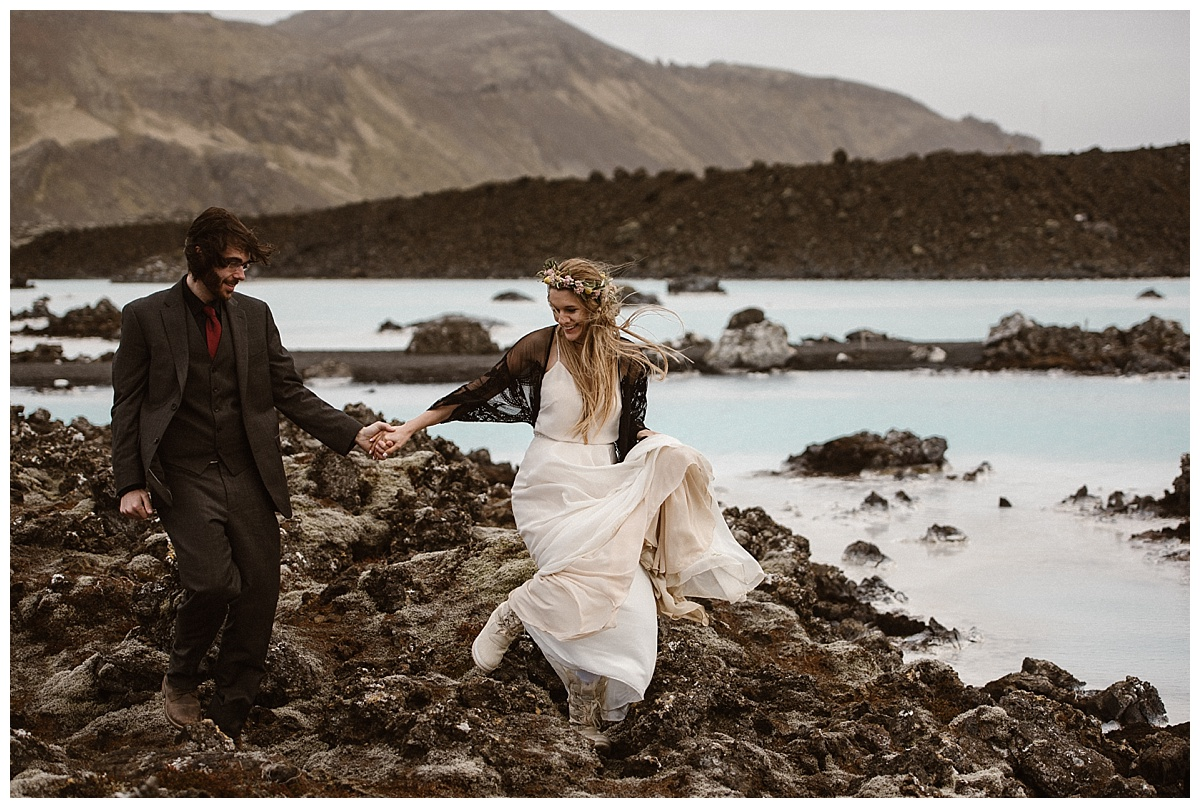 Their adventure will continue for years to come, as they started off their married life with an intimate elopement adventure throughout the diverse landscapes of Iceland, ending at the Blue Lagoon. Photos by traveling wedding photographer Maddie Mae.