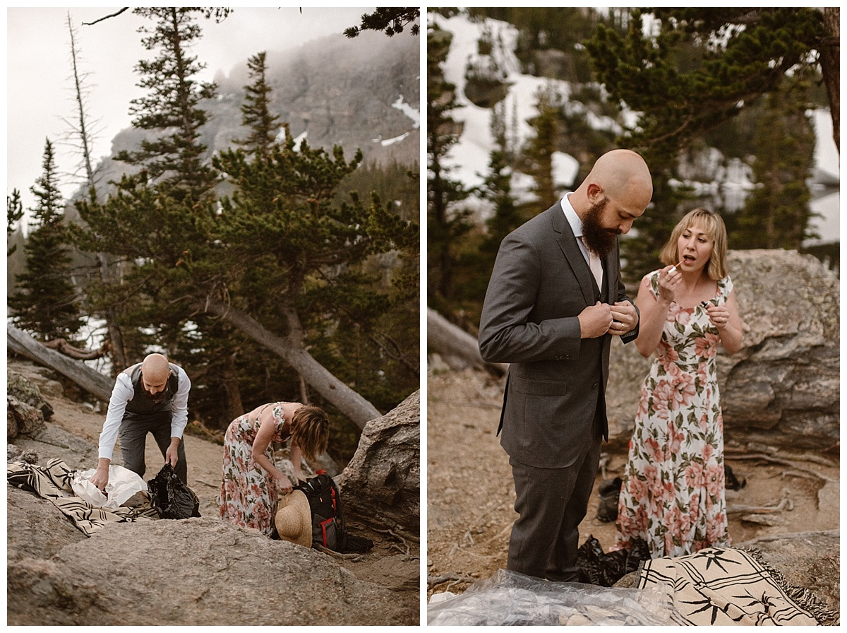 Changing out of their hiking clothes and donning a suit and sweet floral dress, Sara and Justin primped and preened for their intimate elopement ceremony up Loch Vale in Rocky Mountain National Park. Photos by wedding photographer Maddie Mae.