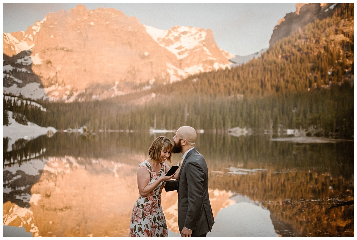Sarah's sense of humor had been what Justin had first fallen in love with and her vows kept true. They smiled and laughed their way through their intimate wedding ceremony up Loch Vale in Rocky Mountain National Park while Maddie Mae Photographer captured each precious moment.