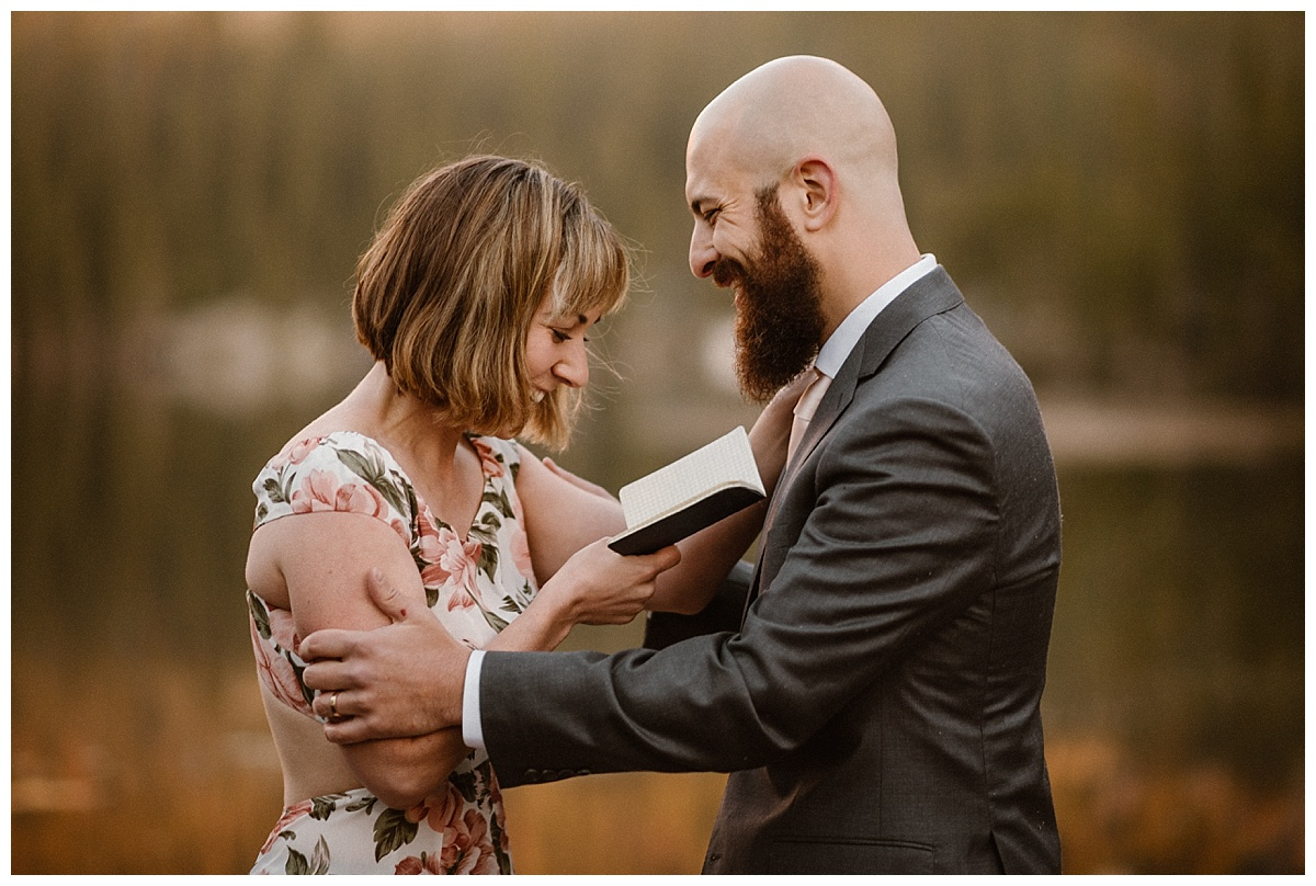 With a giggle and a grasp Sarah finished off her personalized wedding vows to Justin at their self solemnizing elopement in Rocky Mountain National Park. Photos of this intimate wedding by Colorado native, Maddie Mae Photography.