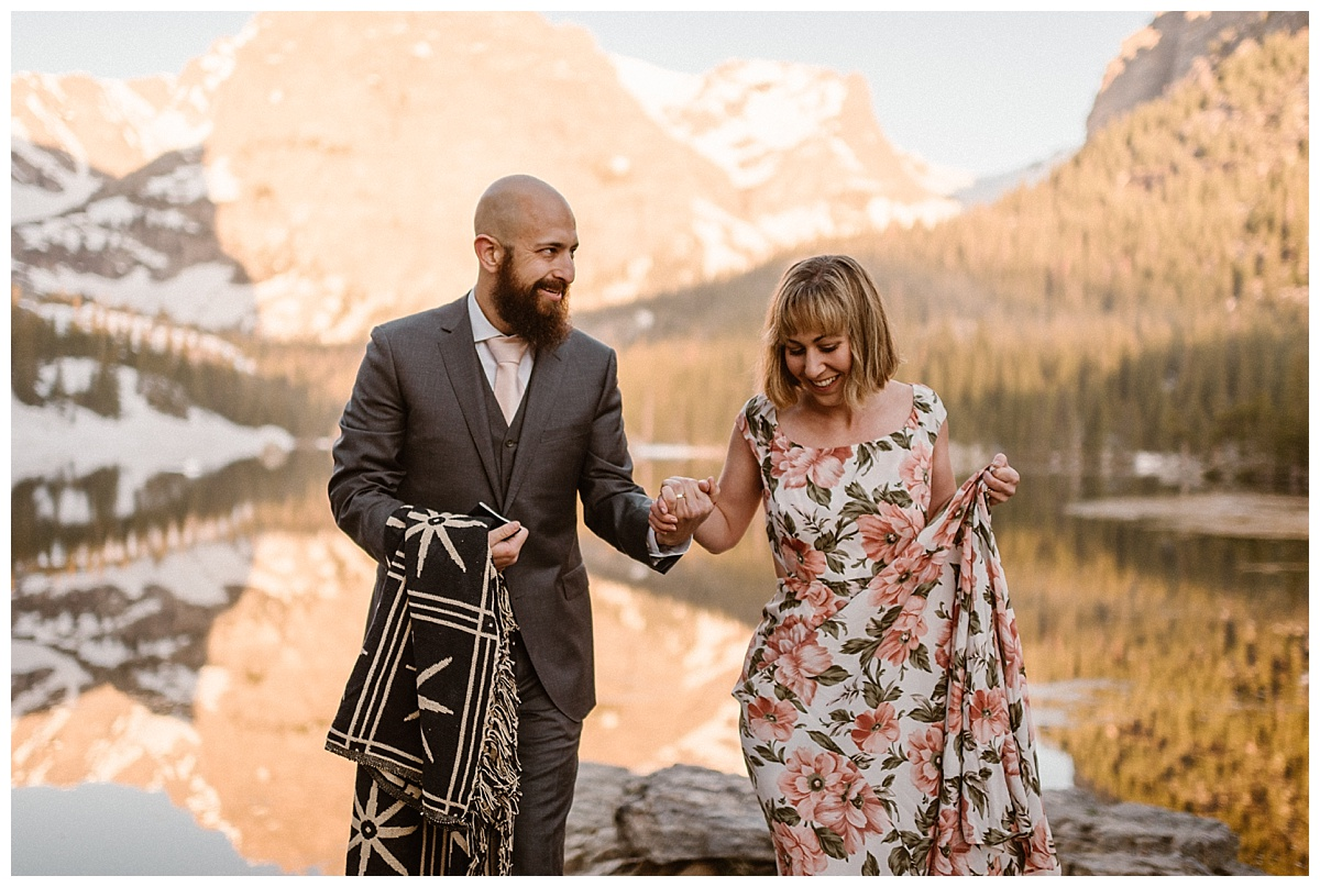 Packing up their blanket and vow book they continued their adventure packed morning by hiking onwards around Loch Vale in RMNP with their intimate wedding photographer Maddie Mae.