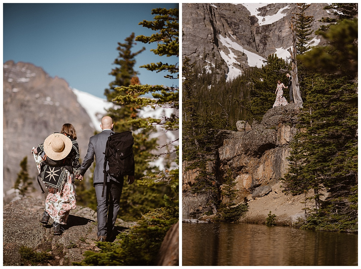 Over the rocks and just past the tress, Sarah and Justin found the perfect little spot to have moment of privacy over Loch Vale. With the sun have just risen not a soul was in sight. Photo of this adventurous RMNP elopement by intimate wedding photographer Maddie Mae.