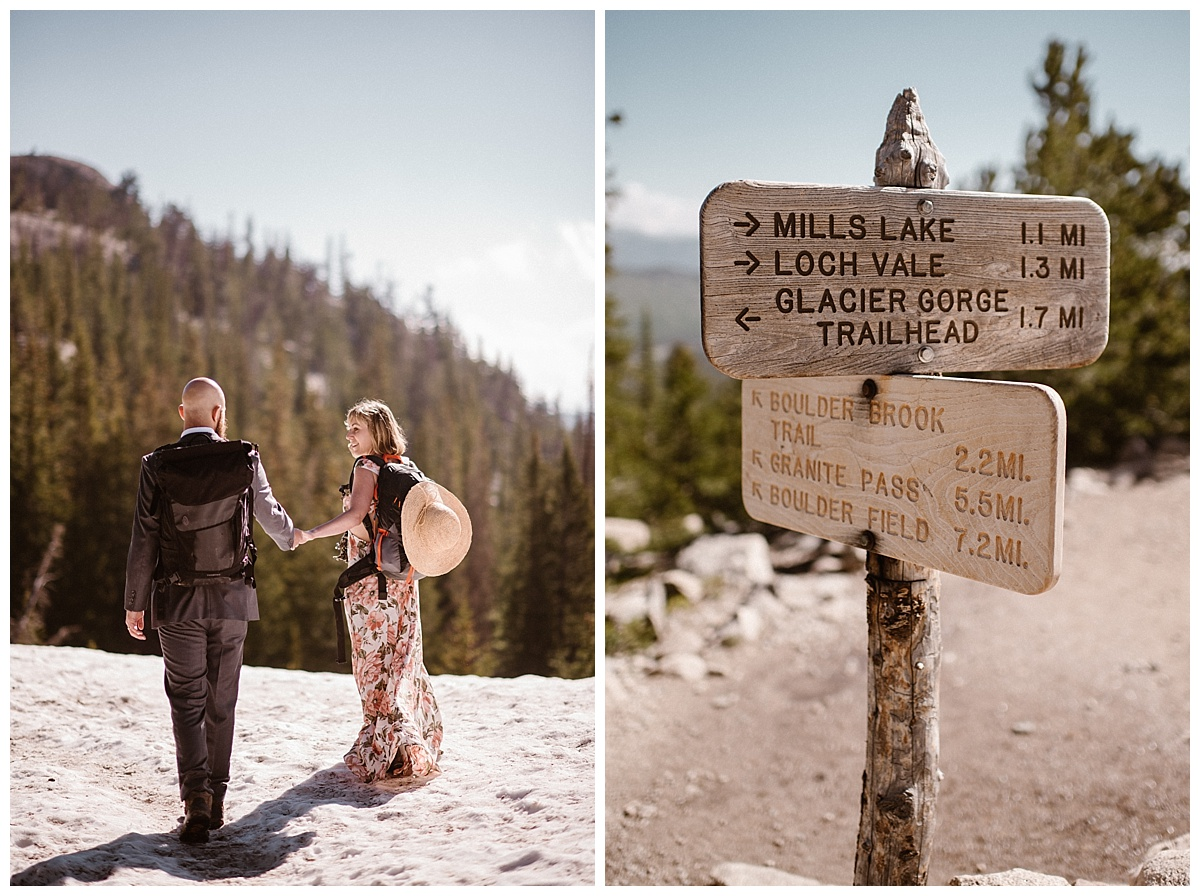 The sun warming them as they rounded the trail past Mills Lake in Rocky Mountain National Park. This adventurous couple opted for a hiking elopement instead of the traditional wedding. Photos by intimate wedding photographer Maddie Mae.