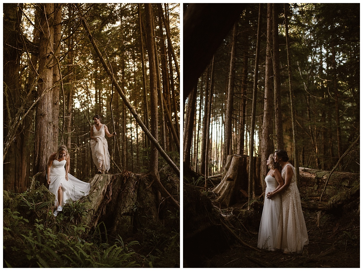 The sunlight filtered through in spot lighting these gorgeous brides as they paused to listen to the waves hitting the rocky beaches where they had just come from. This intimate and adventurous elopement through Tofino BC captured by traveling photographer Maddie Mae.
