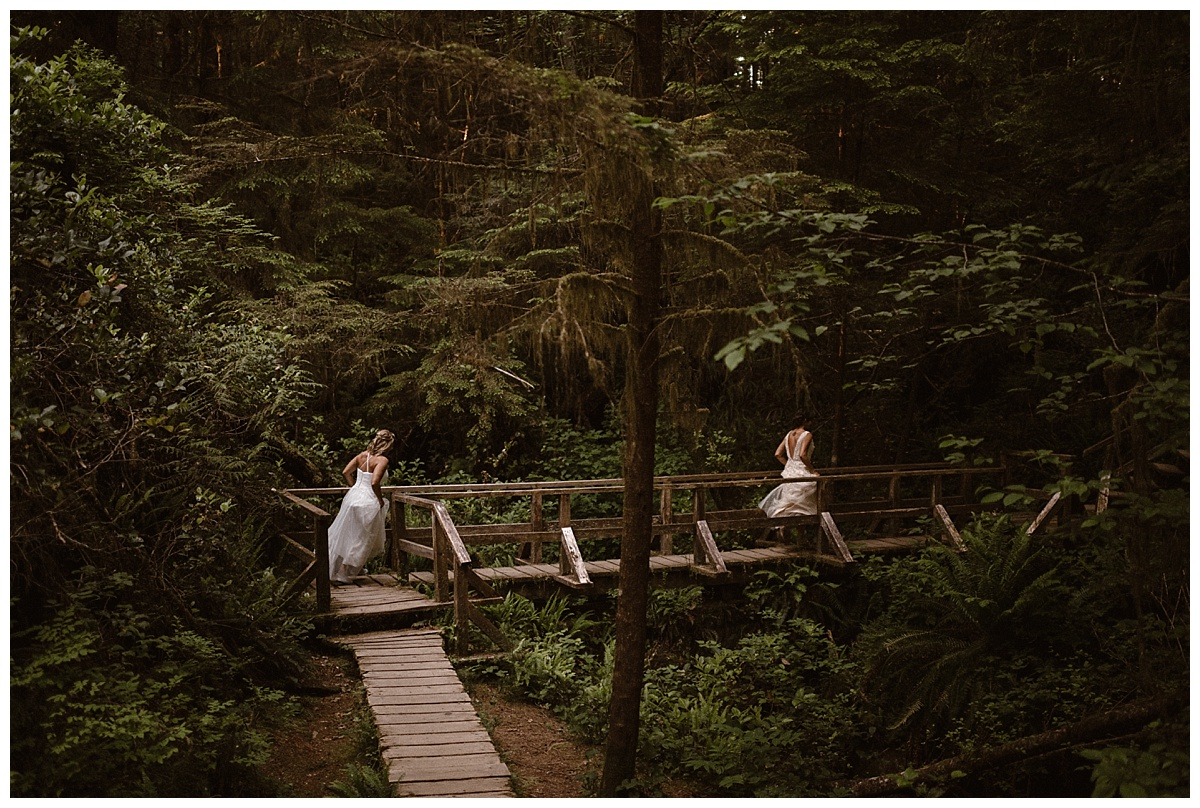 They came upon a path that lead them deeper into the thicks of the woods, as they ran the echos of their feet and giggles filled the forest with sound. Photos of this playful and adventurous wedding by traveling elopement photographer Maddie Mae.