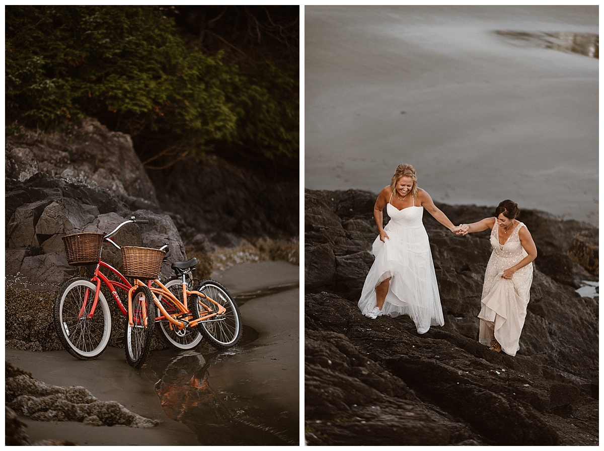 They parked their bikes off against the cliffs and kept wandering along the jagged cliffs of Tofino beach. Photos of this adventurous helicopter elopement by traveling photographer Maddie Mae.
