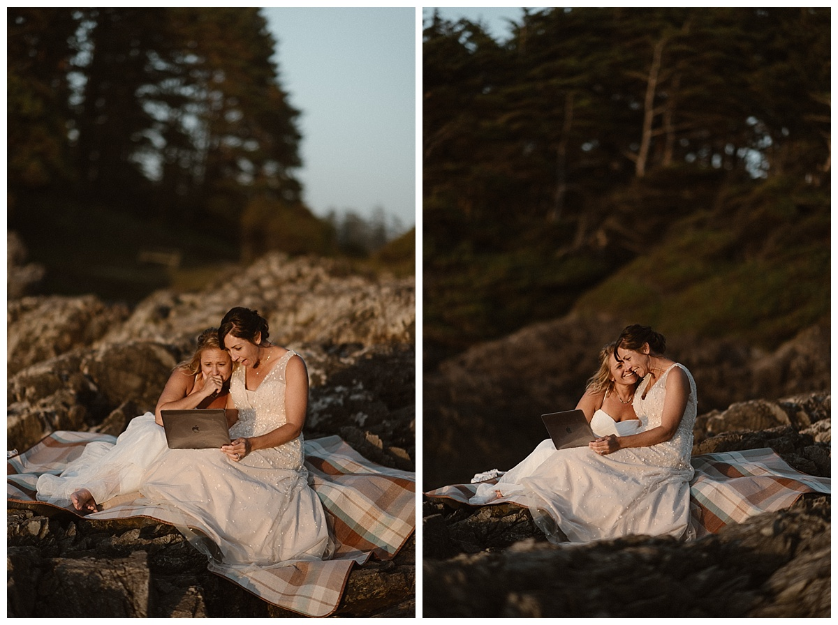 Their families surprised them on the day of their adventurous elopement by asking their intimate wedding photographer Maddie Mae to deliver a video they had made for Kari and Karen.