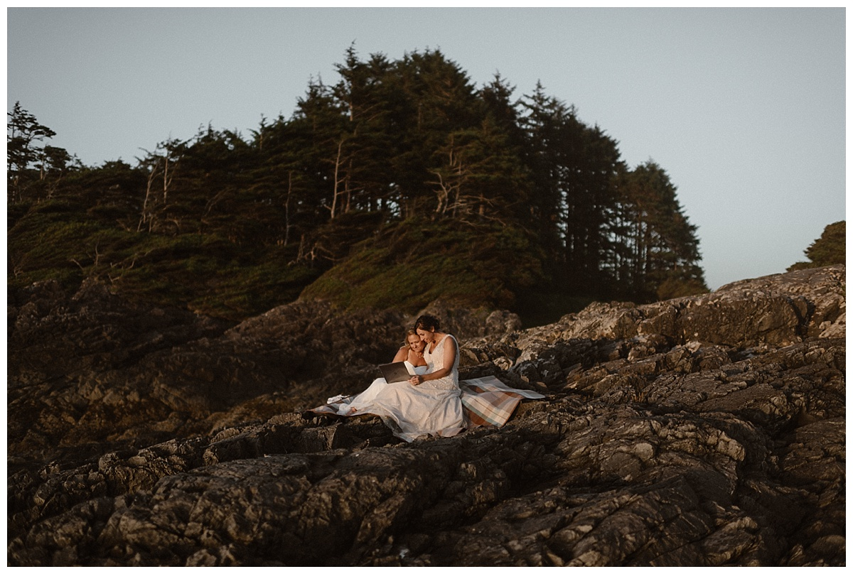 Their families wished them a lifetime of adventures knowing that although they couldn't be a part of their wedding they knew that Kari and Karin had held the ceremony that was perfect for them. Photos of this intimate elopement through Tofino BC captured by Maddie Mae Photography.