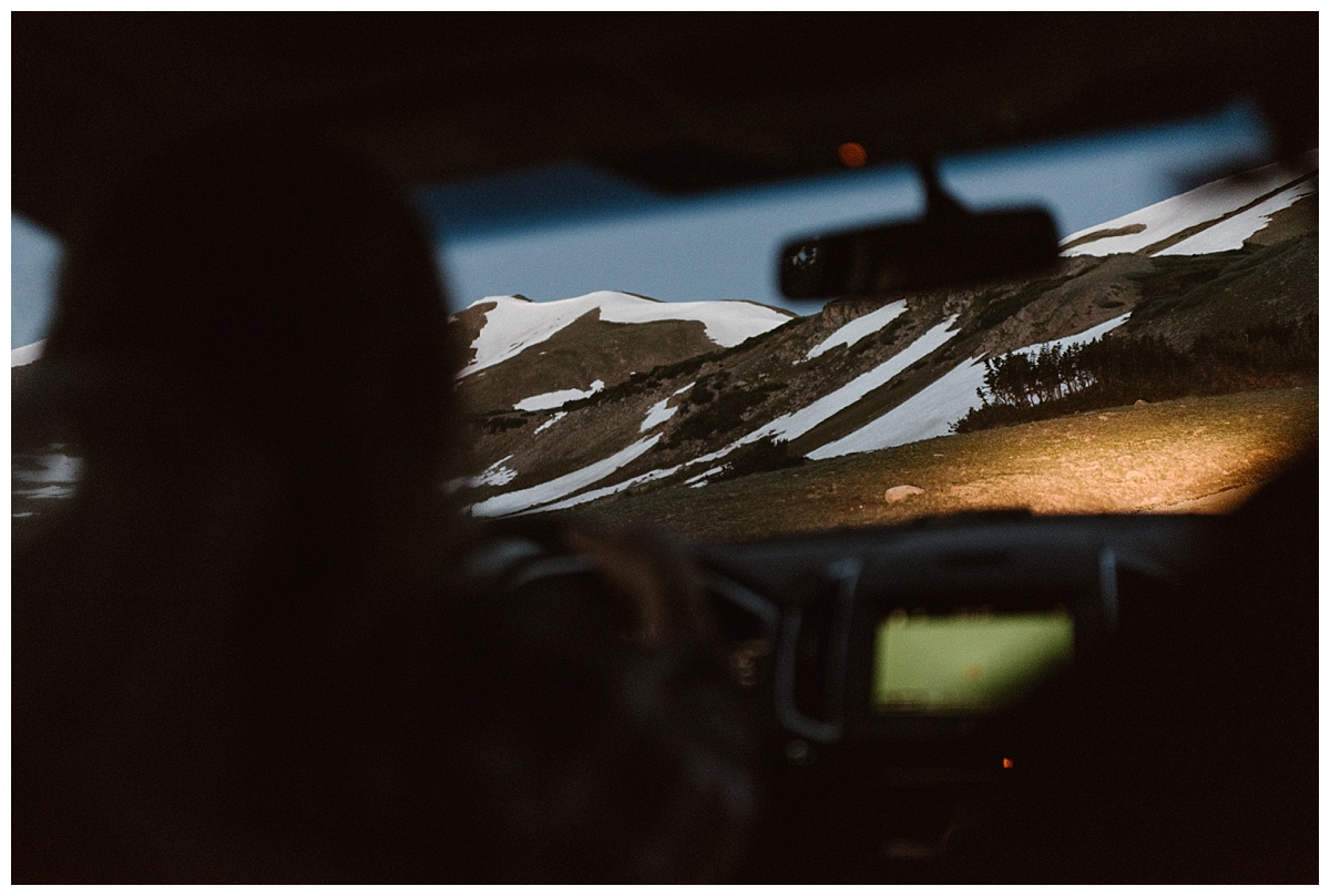 We met before the sun had come up at the bottom of Jonas Pass near Winter Park, CO. This secluded spot is off Berthoud Pass and is perfect for an intimate sunrise elopement ceremony. Photos by traveling wedding photographer Maddie Mae.