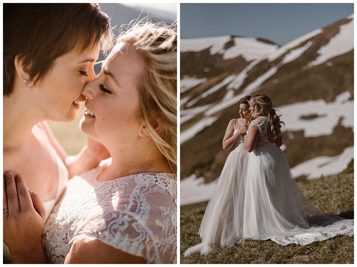 With no one around except their intimate elopement photographer Maddie Mae, Dona and Malisa shared promises meant only for their ears. They opted for adventure and eloped at a self solemnization ceremony up Jonas Pass near Winter Park, Colorado.
