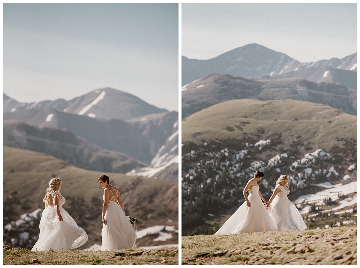 They continued their hike post ceremony by wandering through the high terrain of Berthoud Pass. Their private sunrise elopement captured by traveling wedding photographer Maddie Mae.