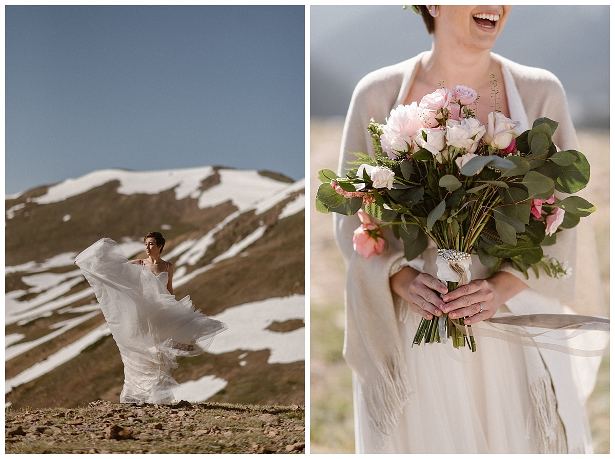 The high alpine winds caught Malisa's dress, blowing the layers of tulle around her. Although skipping out on much tradition, she did opt for a garden rose bouquet of pink and white. This intimate double bride elopement captured by traveling photographer Maddie Mae.