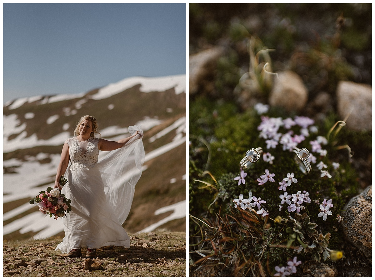 Dona glowed like a mountain angel in the high alpine sun. She and her bride opted for matching silver wedding rings to celebrate their intimate elopement. Photos of their adventurous wedding up Jonas Pass by Colorado native, Maddie Mae.
