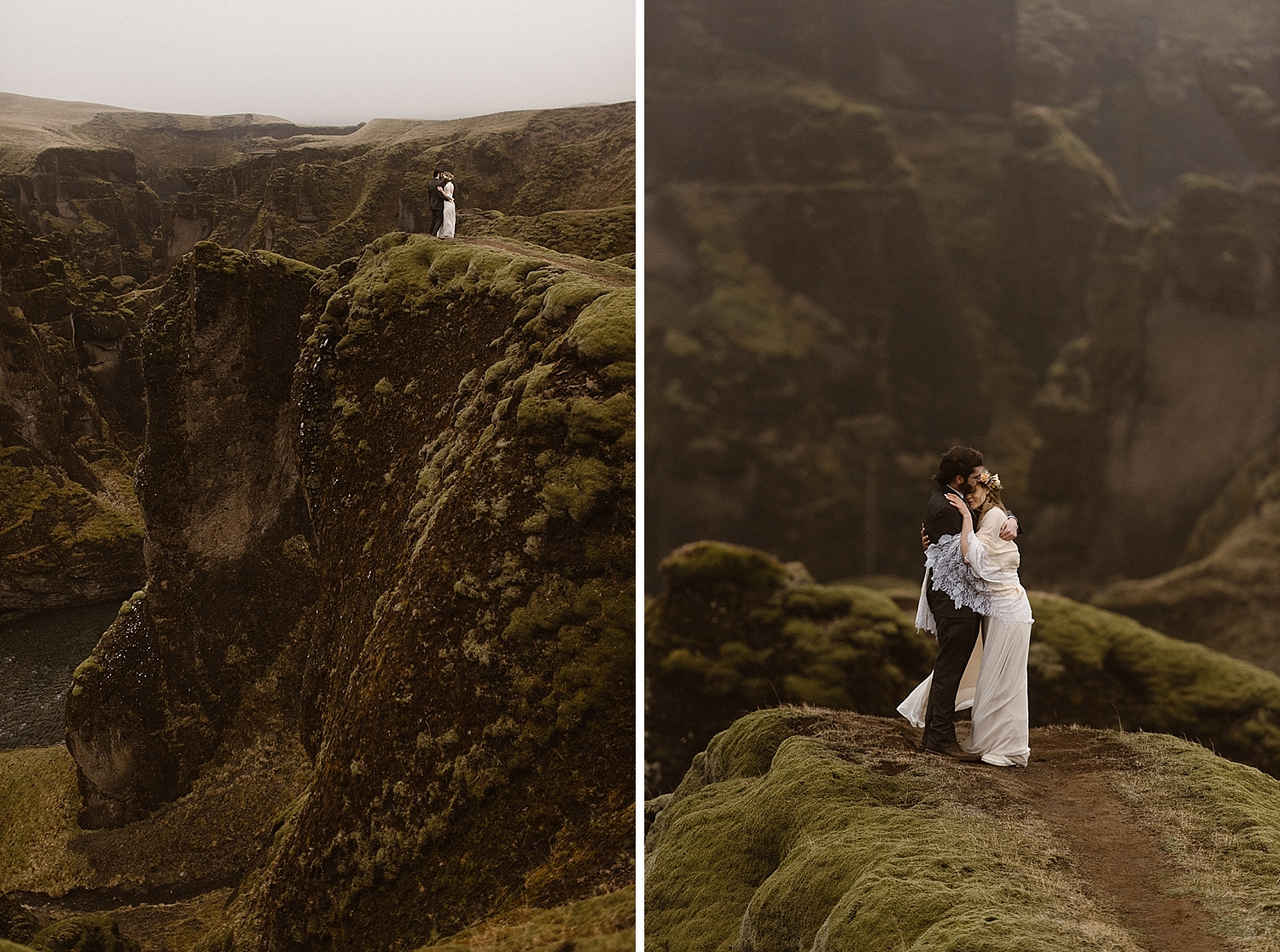 Caught by the wind, Julie and Tim started back toward the cliffside at Fjadrargljufur Canyon so they could share their intimate wedding vows. Their windy Iceland elopement captured by traveling wedding photographer Maddie Mae.