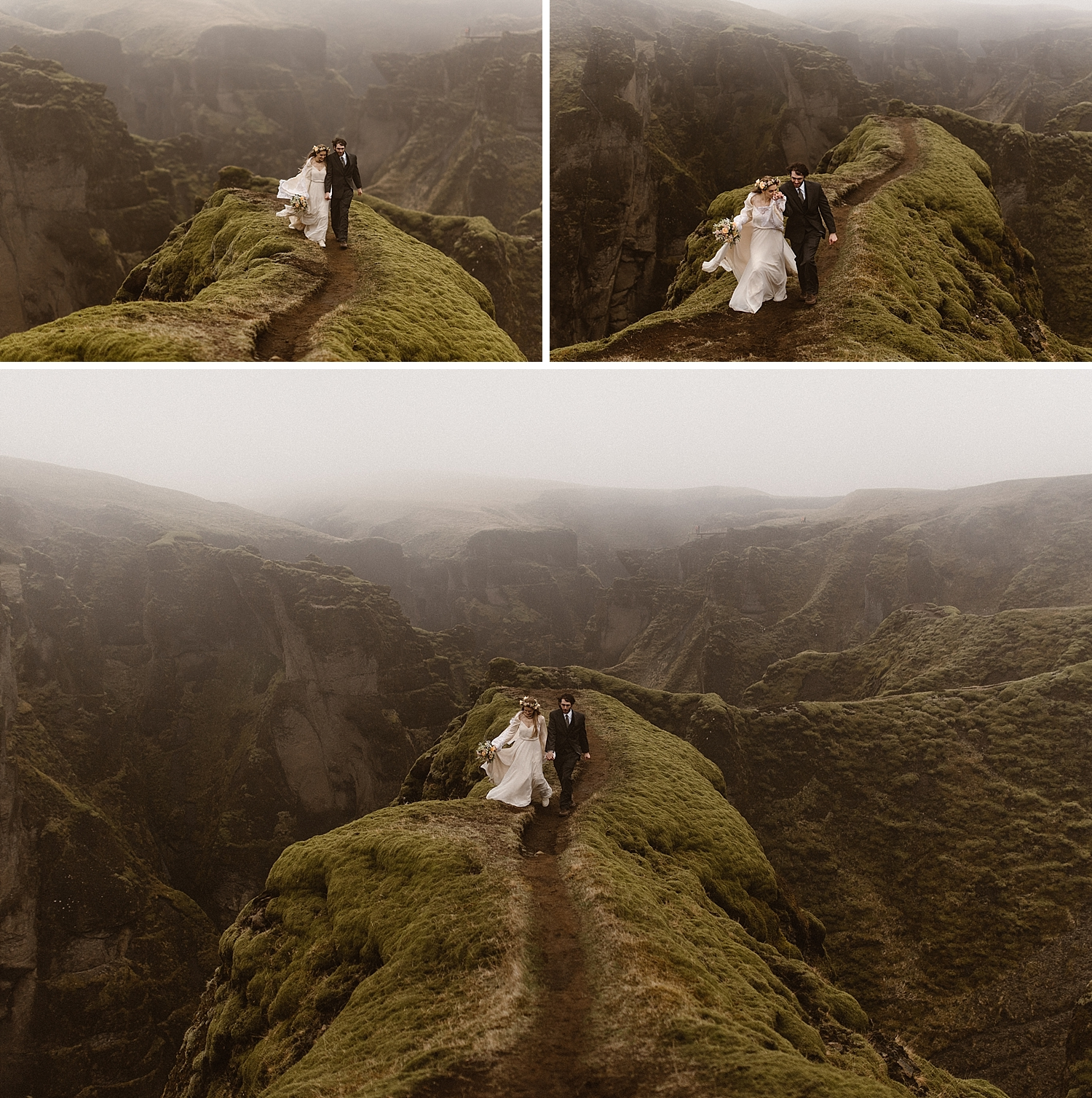 Looking like a vision out of a Stevie Nicks dream, Julie led Tim back up the narrow pathway above Fjadrargljufur Canyon on their way to their perfect intimate wedding location. Photos captured by elopement photographer Maddie Mae.