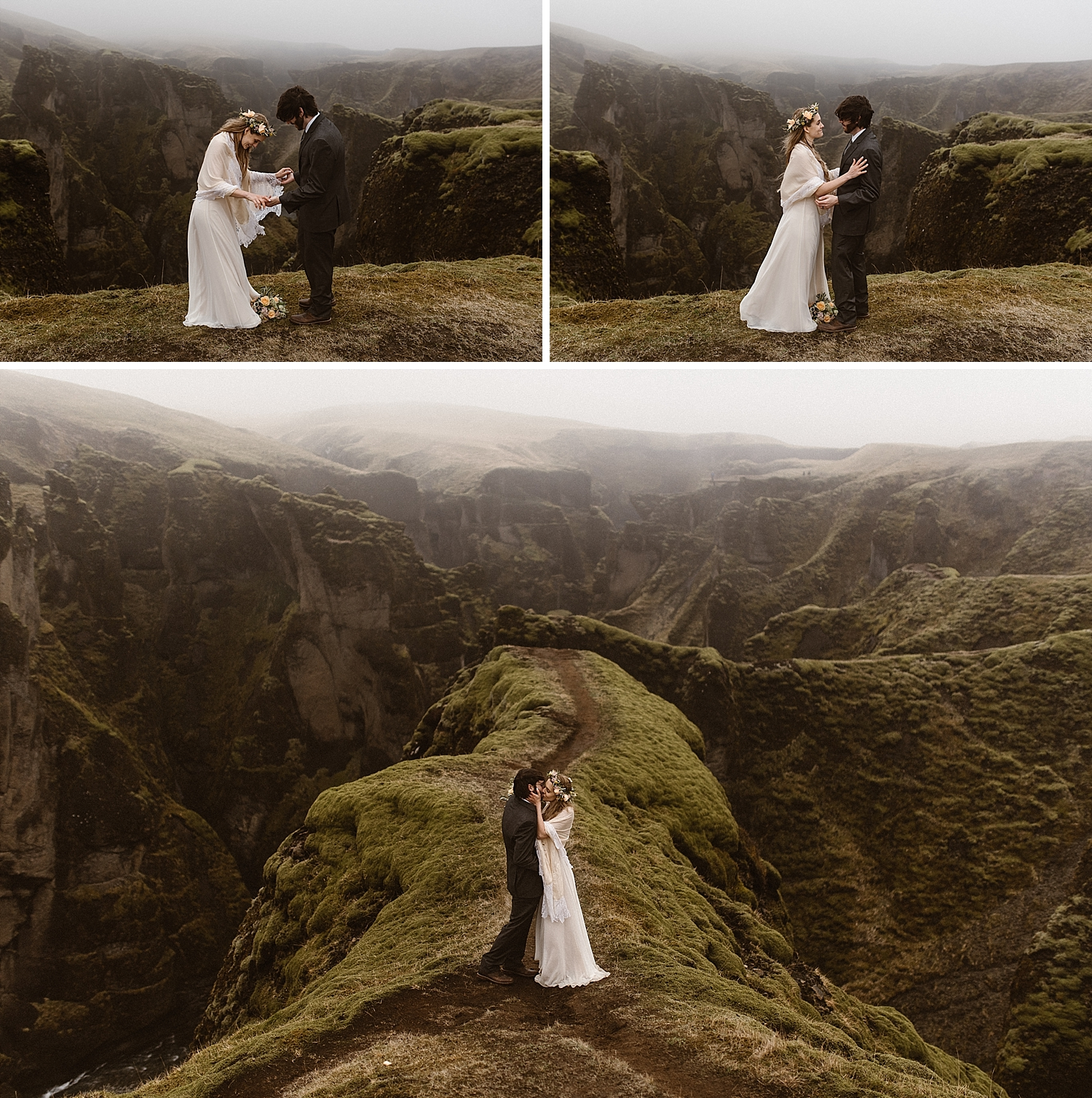 Taking on last look as his stunning bride, Julie and Tim's excitement could be felt for miles! They had just said their most intimate vows in the most stunning Icelandic backdrop with only their intimate elopement photographer, Maddie Mae, as their witness.
